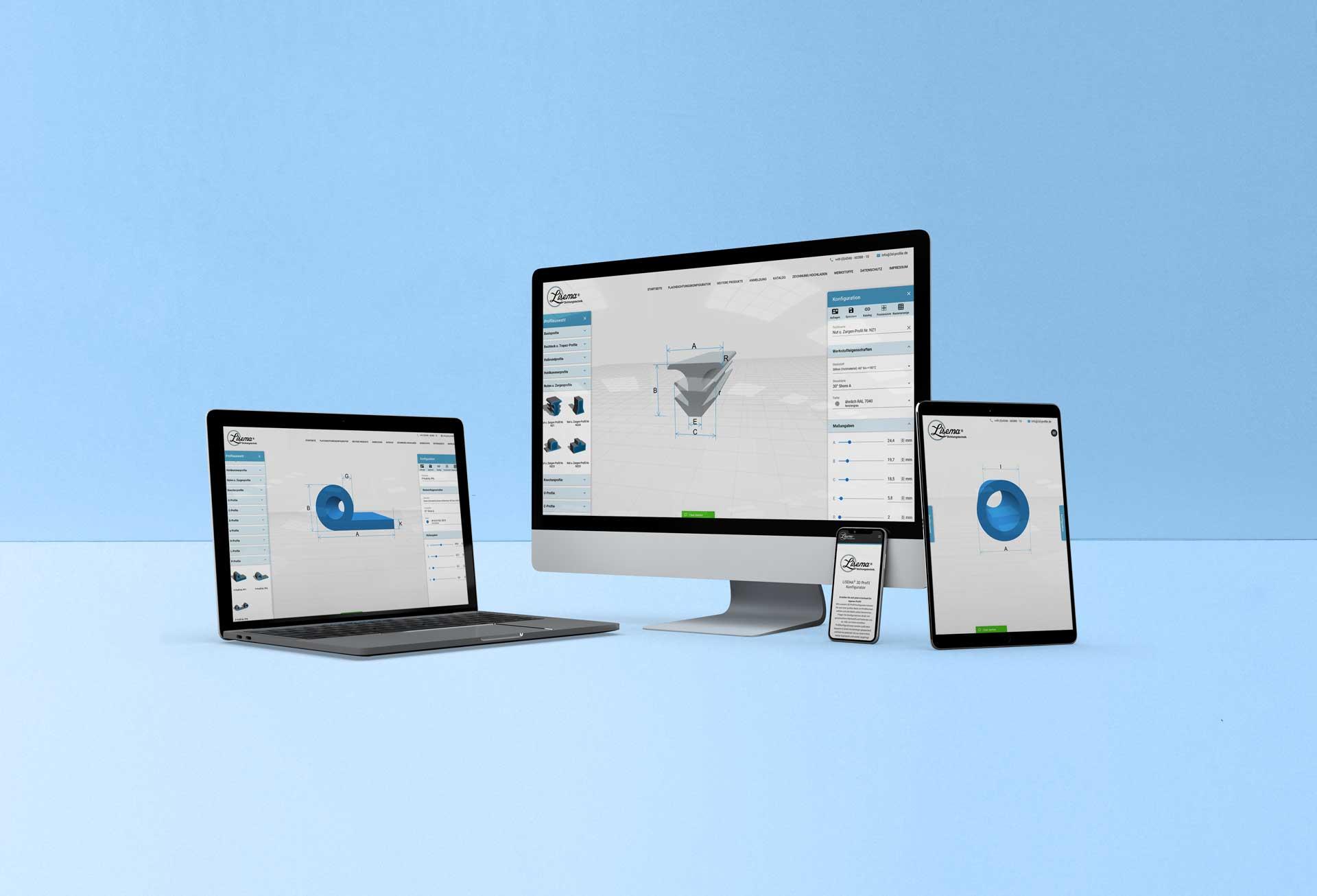 Online Konfigurator für 3D-Profile - LiSEMA-Dichtungstechnik